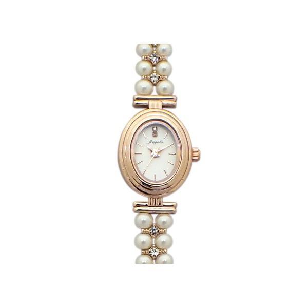 バングル オーバルパール ブレスウォッチ レディース腕時計 日本製ムーブメント  ピンクゴールド E03117S-PG