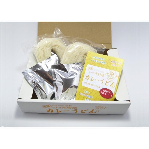 「笑いーと」「米粉麺」いわき米粉麺 カレーうどん(白米めん(中太・2個)カレースープ(2袋))|localtoglobal