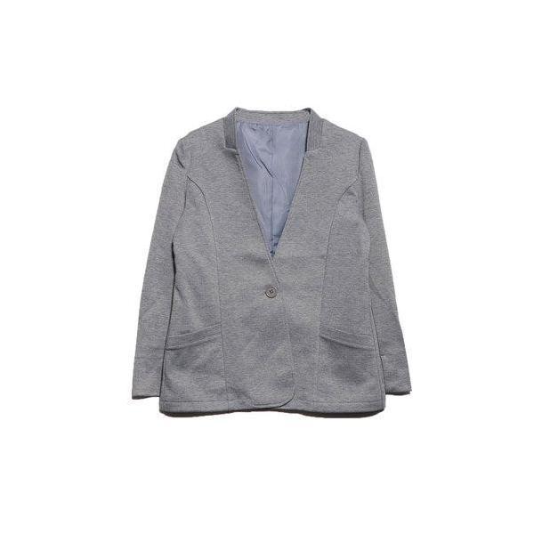ベルーナ BELLUNA 洗える!軽やかノーカラージャケット (モクグレー)