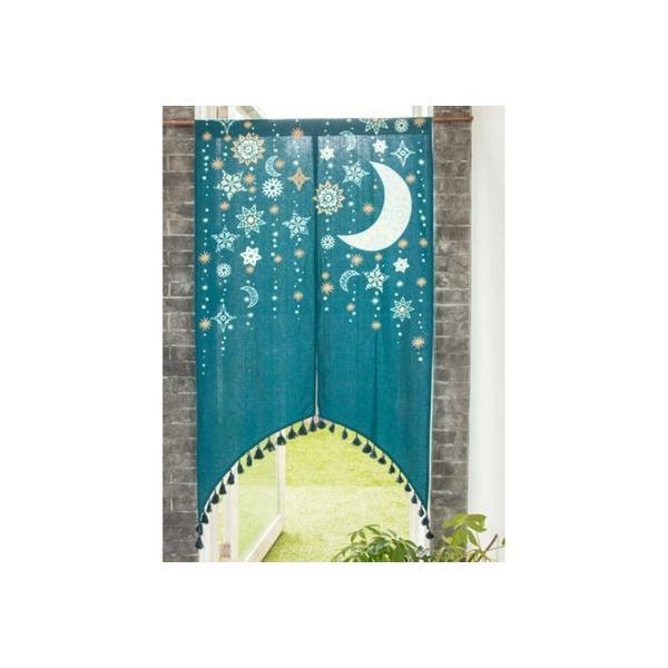 【チャイハネ】夜空に輝く月星アーチのれん ダークグリーン