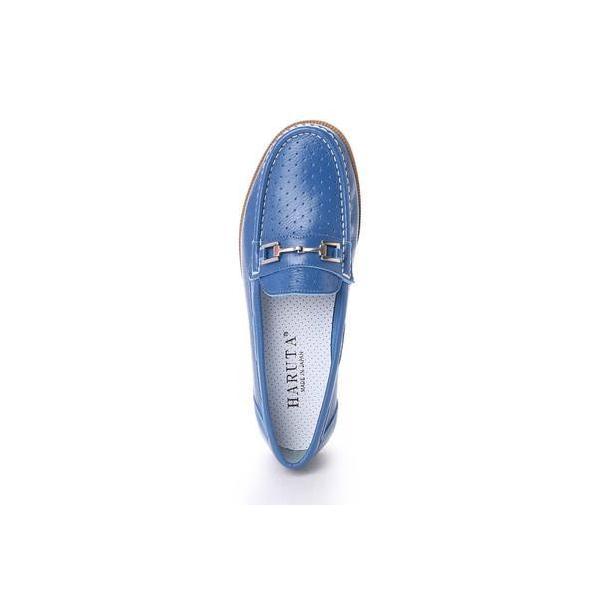 ハルタ HARUTA パンチングレザーを使用した白底軽量シルバービット付きデザイン (ブルー)