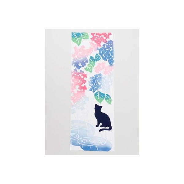 【カヤ】注染手ぬぐい 紫陽花と猫 アクア