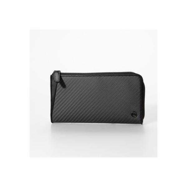 ミラグロMilagroリアルカーボンF・L字ファスナー長財布(MAMORIO搭載)(ブラック)