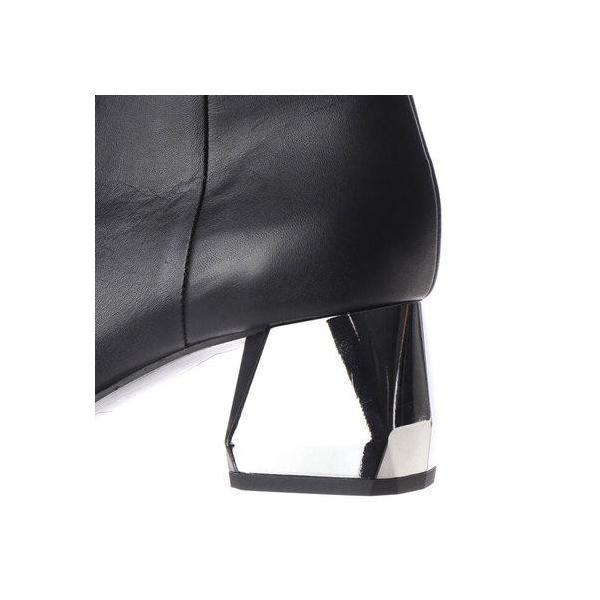 マクリス MAKRIS ブロックヒールスムースショートブーツ (ブラック)