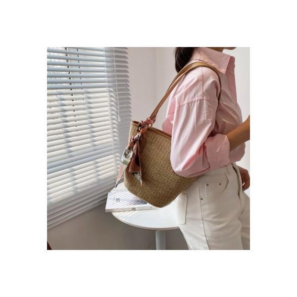 ミニミニストア miniministore かごバッグスカーフ付きストローバッグ (キャメル)