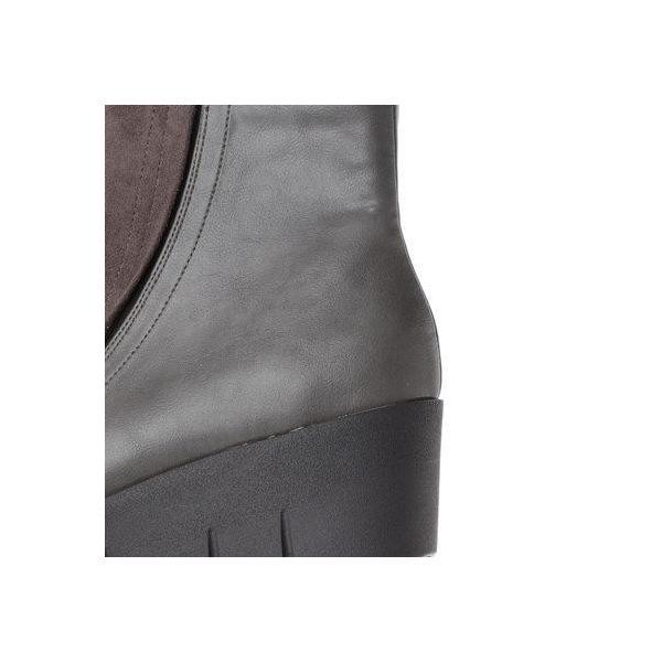 ヌーベルヴォーグ リラックス NOUBEL VOUG Relax 異素材コンビウエッジショートブーツ (グレー)