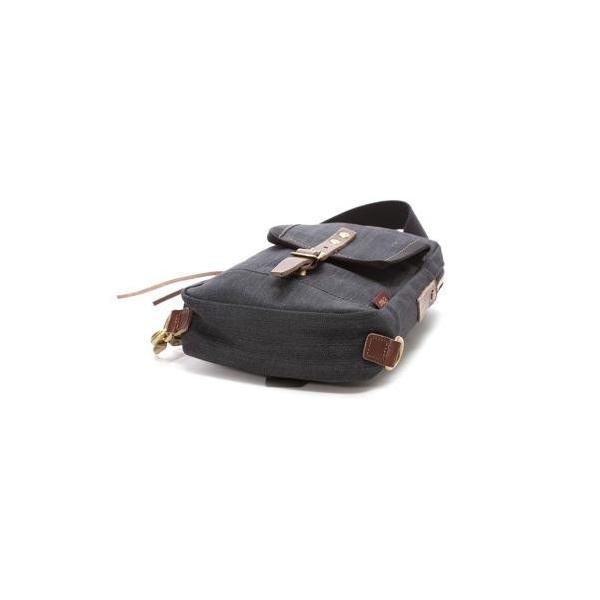 オティアス Otias 【日本製】デニム×レザー ボディバッグ/ワンショルダーバッグ 厚口ヌメ革(ブラック)