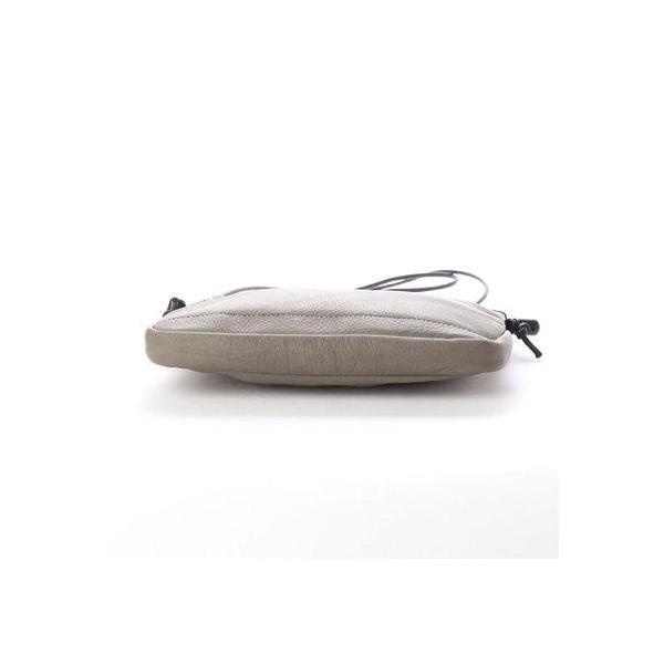 オティアス Otias 【日本製】シュリンクカウレザーオイル仕上げポーチ型サコッシュ/ミニショルダーバッグ (グレー)