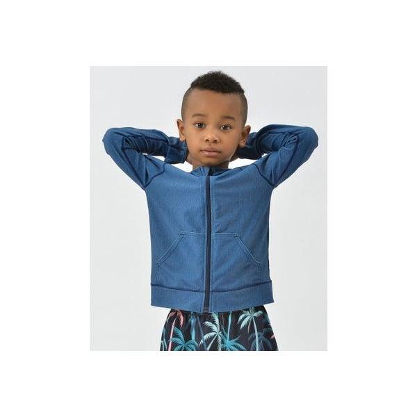 テディショップ teddyshop キッズ カラフルジップアップラッシュガードパーカー (ブルー)