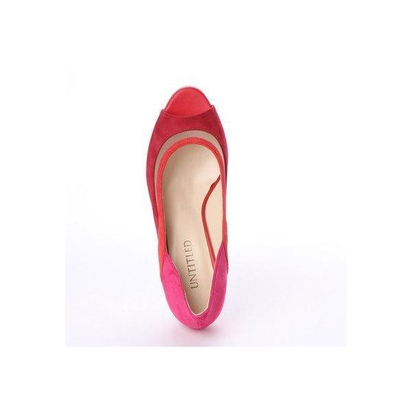 アンタイトル シューズ UNTITLED shoes オープントゥパンプス (レッドコンビ)