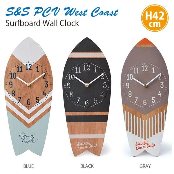 サーフボード クロック 掛け時計 木製 ビーチ雑貨 壁掛け時計 おしゃれ ウォールクロック インテリアクロック P.C. VILLA Sea & Sun West Coast