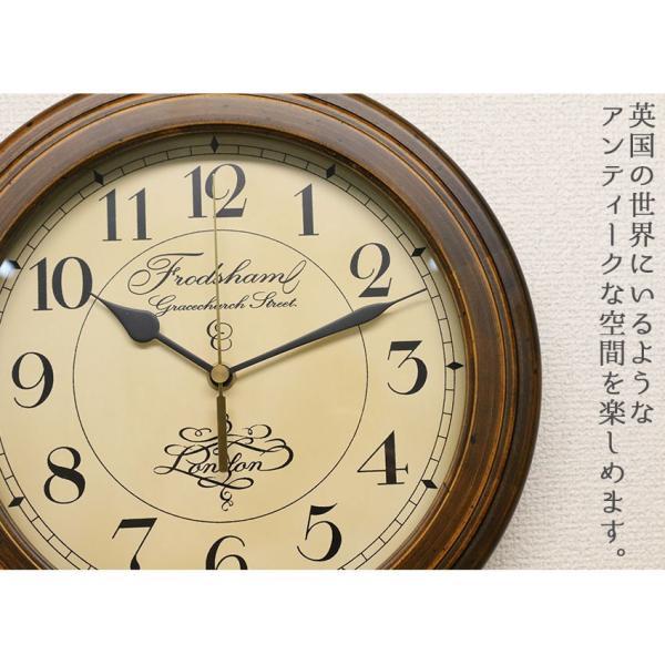 アンティーク調 掛時計 電波時計 壁掛け時計 掛け時計 おしゃれ 連続秒針 スイープムーブメント 静か 日本製 電波掛け時計 木製 レトロ モダン シンプル|logical-japan|02
