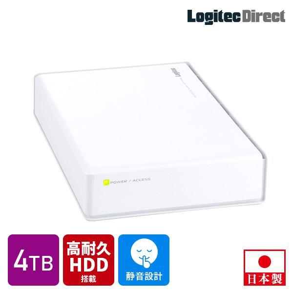 外付けHDD 外付けハードディスク 4TB USB3.1(Gen1) / USB3.0 WD Red WD40EFRX搭載 日本製 ホワイト ロジテック LHD-ENA040U3WRH|logitec