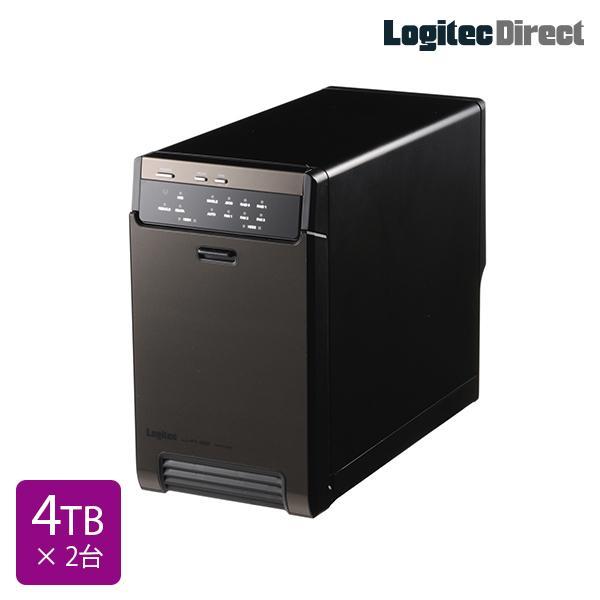 外付けHDD 2BAYケース + WD Red 4TB × 2台 大容量ストレージ LHR-2BRH80EU3WR logitec