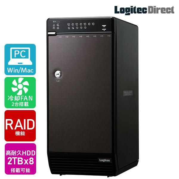 外付けHDD 8BAYケース + WD Red Pro 2TB × 8台 大容量ストレージ 納期別途連絡 LHR-8BRH16EU3RP|logitec