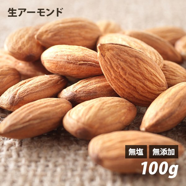 生アーモンド 100g アメリカ産 無塩 無添加 ノンロースト ナッツ
