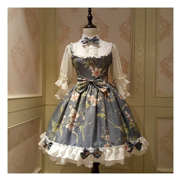通年 ロリータクラシックドレス ブラウス付き リボン フリルレース 姫袖 蝶ネクタイ フロントリボン|loliloli