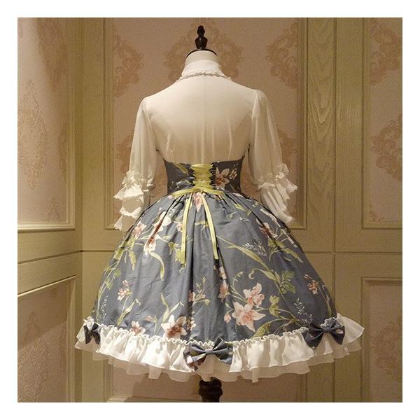 通年 ロリータクラシックドレス ブラウス付き リボン フリルレース 姫袖 蝶ネクタイ フロントリボン|loliloli|04
