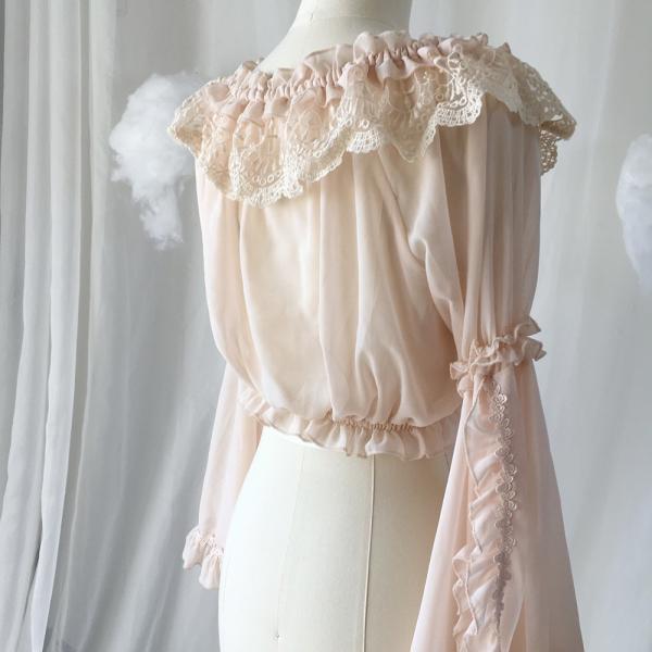ロリータ ボリューミー姫袖ブラウス ブラウスのみ 長袖 透け感 甘ロリ ゴスロリ|loliloli|10