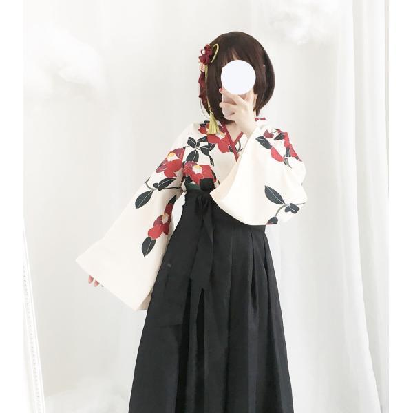 ロリータ 和ロリ 椿柄女学生袴風2ピース tops+bottoms 和風 スカート 和柄 セット|loliloli