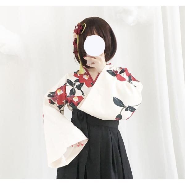 ロリータ 和ロリ 椿柄女学生袴風2ピース tops+bottoms 和風 スカート 和柄 セット|loliloli|03