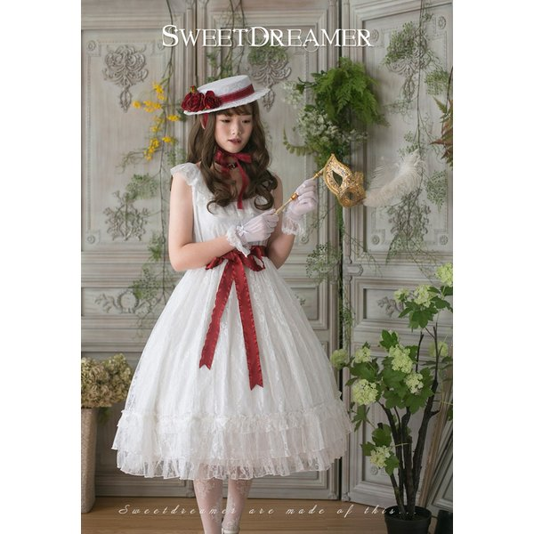ロリータ SweetDreamer Vintage French純白ドレス チョーカープレゼント 白ロリ 姫ロリ ワンピース|loliloli