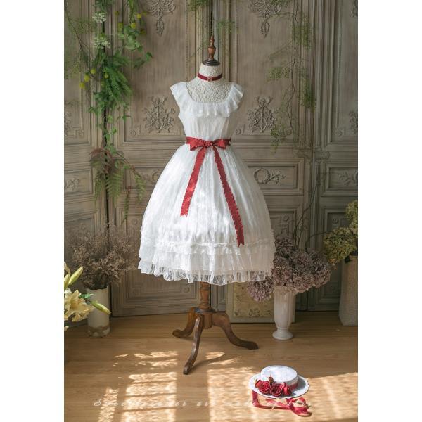 ロリータ SweetDreamer Vintage French純白ドレス チョーカープレゼント 白ロリ 姫ロリ ワンピース|loliloli|02
