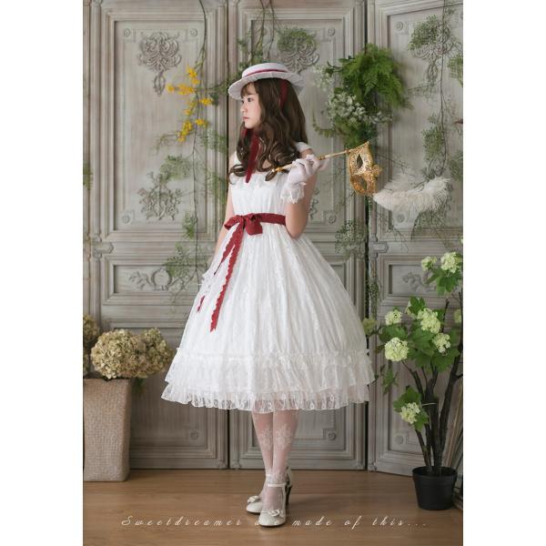ロリータ SweetDreamer Vintage French純白ドレス チョーカープレゼント 白ロリ 姫ロリ ワンピース|loliloli|03
