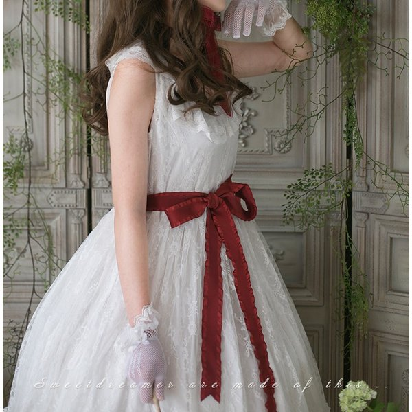 ロリータ SweetDreamer Vintage French純白ドレス チョーカープレゼント 白ロリ 姫ロリ ワンピース|loliloli|05