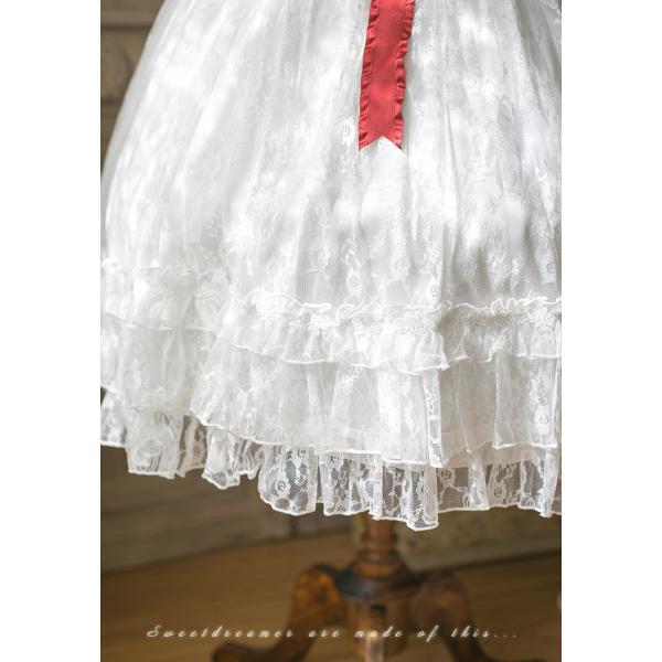 ロリータ SweetDreamer Vintage French純白ドレス チョーカープレゼント 白ロリ 姫ロリ ワンピース|loliloli|06