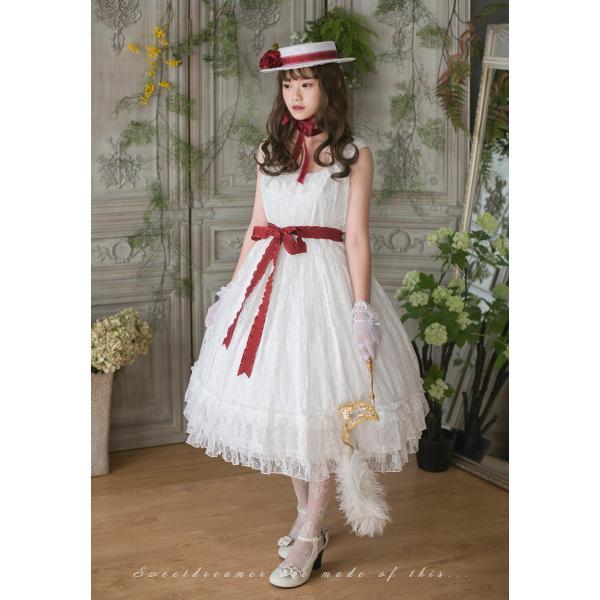 ロリータ SweetDreamer Vintage French純白ドレス チョーカープレゼント 白ロリ 姫ロリ ワンピース|loliloli|07