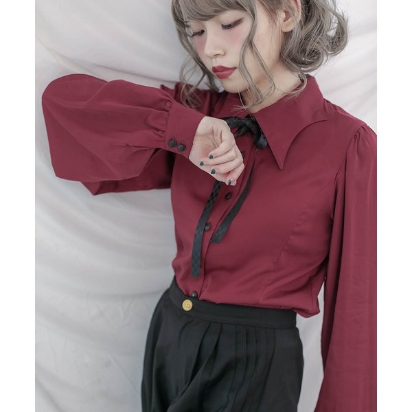 174356c400996 ... Dolly Delly マント風リボン ブラウス ブラウスのみ リボン付き レディース ロリータ 長袖 変形ブラウス 名 ...