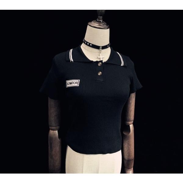 69c4db435d166 ... ゴスロリ タイトポロシャツ ショート丈 タイト設計 セクシー へそだし カジュアル ブラック 夏物 トップス|loliloli ...