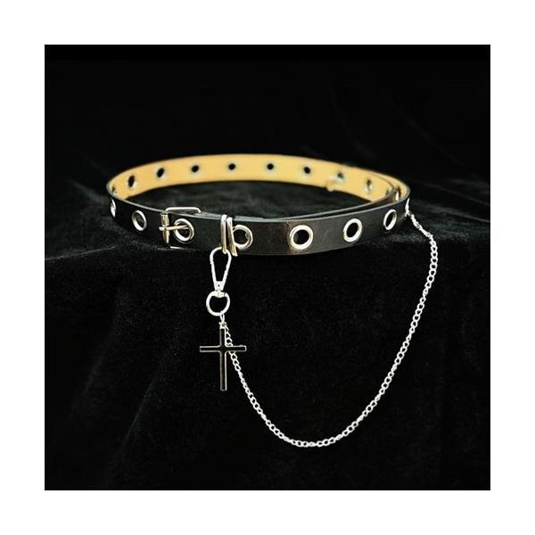 ゴスロリ 十字架チェーン付きベルト パンク ロック カジュアル クロスモチーフ 小物 ベルト 細い ハード|loliloli