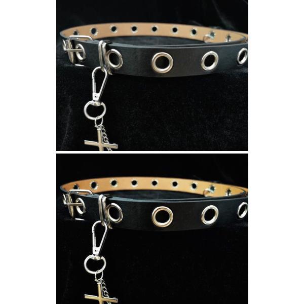ゴスロリ 十字架チェーン付きベルト パンク ロック カジュアル クロスモチーフ 小物 ベルト 細い ハード|loliloli|05