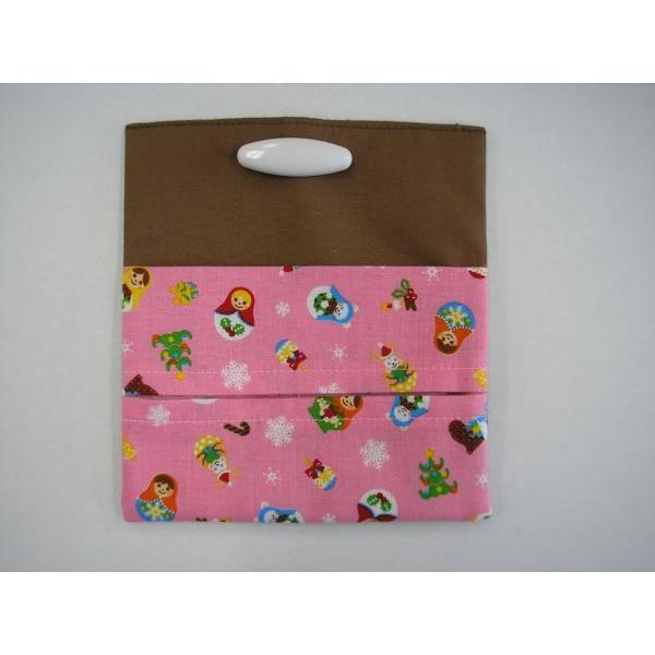 オリジナル付けポケット(安全ピン付)茶×マジョリカ柄 子供用 入園 入学