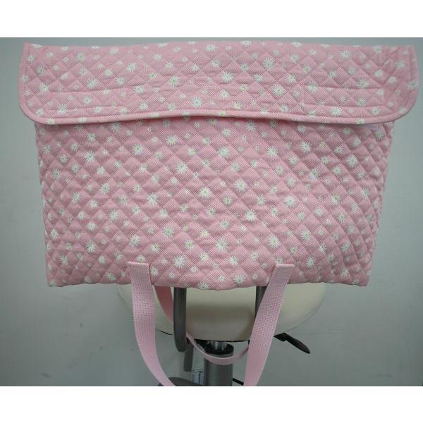 防災頭巾カバー 防災ずきんカバー(子ども用・手提バック兼用)ピンク地に白いお花柄