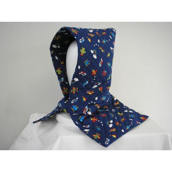 防災頭巾 座布団兼用防災頭巾(子供用)紺地空飛ぶのりもの柄