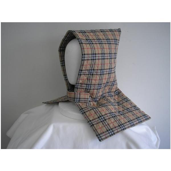 防災頭巾 座布団兼用防災頭巾(子供用)小麦色地に黒と白と赤のチェック