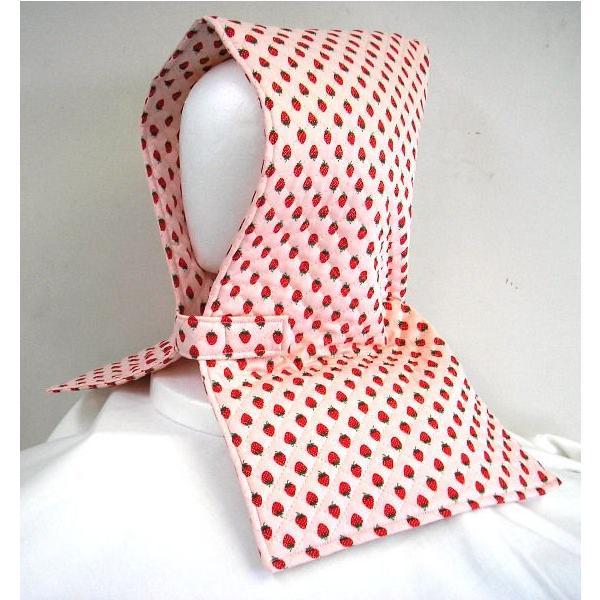 防災頭巾 座布団兼用防災頭巾(子供用)ピンク地に赤のイチゴ柄