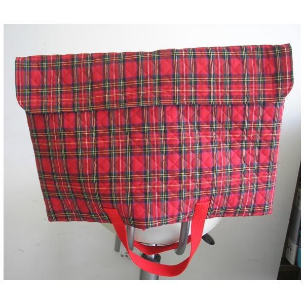 防災頭巾カバー  防災ずきんカバー(子ども用・手提バック兼用)赤×グリーンのチェック柄