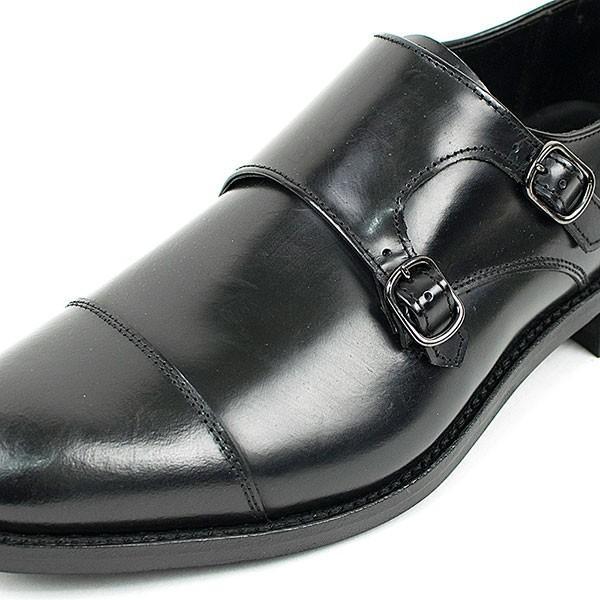 ダブルモンクストラップ 革靴 DOUBLE MONK STRAP LEATHER SHOE グッドイヤーウェルト製法 BLACK|london-game|02