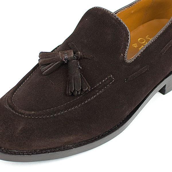 スウェード タッセルローファー 革靴 SUEDE TASSEL LOAFER グッドイヤーウェルト製法 D.BROWN|london-game|02