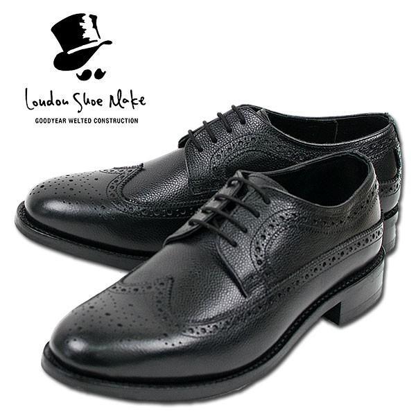 ウィングチップ 革靴 フルブローグ FULL BROGUE LEATHER SHOE グッドイヤーウェルト製法 BLACK london-game