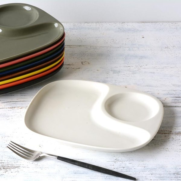 二つ仕切り ランチプレート 23cm 全9color  取り皿 おしゃれ お皿 皿 食器 プレート オシャレ 陶器 美濃焼き 可愛い 北欧 日本製|long-greenlabel|02