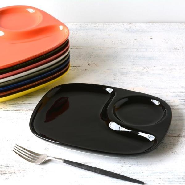 二つ仕切り ランチプレート 23cm 全9color  取り皿 おしゃれ お皿 皿 食器 プレート オシャレ 陶器 美濃焼き 可愛い 北欧 日本製|long-greenlabel|03