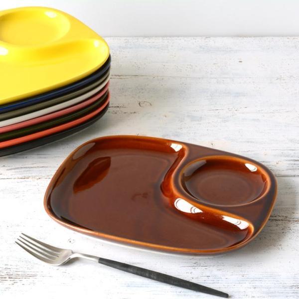 二つ仕切り ランチプレート 23cm 全9color  取り皿 おしゃれ お皿 皿 食器 プレート オシャレ 陶器 美濃焼き 可愛い 北欧 日本製|long-greenlabel|04