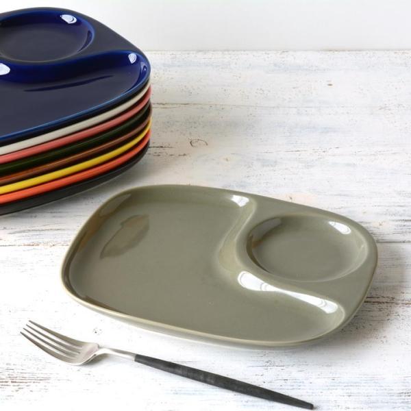 二つ仕切り ランチプレート 23cm 全9color  取り皿 おしゃれ お皿 皿 食器 プレート オシャレ 陶器 美濃焼き 可愛い 北欧 日本製|long-greenlabel|05
