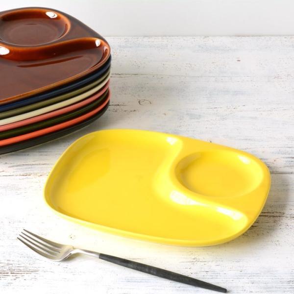 二つ仕切り ランチプレート 23cm 全9color  取り皿 おしゃれ お皿 皿 食器 プレート オシャレ 陶器 美濃焼き 可愛い 北欧 日本製|long-greenlabel|07