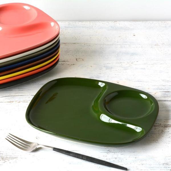 二つ仕切り ランチプレート 23cm 全9color  取り皿 おしゃれ お皿 皿 食器 プレート オシャレ 陶器 美濃焼き 可愛い 北欧 日本製|long-greenlabel|09